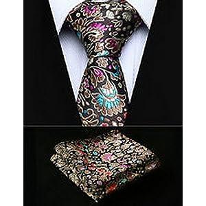 """Dan Smatree Gold Brown Floral 2.17"""" Silk Woven Men Tie Necktie Handkerchief Set"""