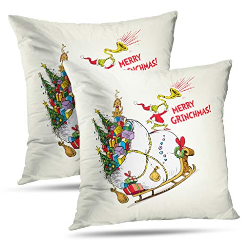 Darkchocl Set of 2 Daily Decoration Throw Pillow Covers Classic Grinch Merry Grinchmas Square Pillowcase Cushion for Couch Sofa or Bed Modern Quality Design Cotton and Polyester 18