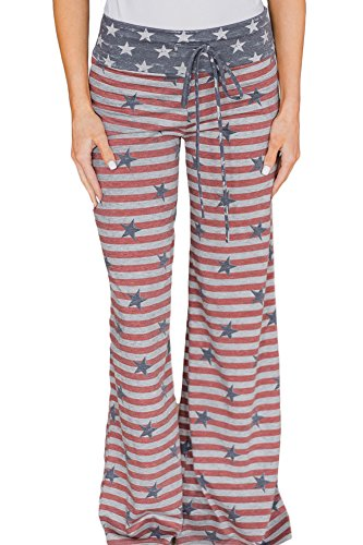 uly 4th Patriotic Loose Leggings Striped Star Palazzo Lunge Pants Wide Leg USA Flag L ()