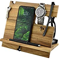Natural Walnut Eco Wood Cell Phone Stand Watch Holder. Men Wireless Device Dock Accessory Organizer. Mobile Base Nightstand Charging Docking Station. Wooden Storage Funny Birthday Bed Side Caddy Valet