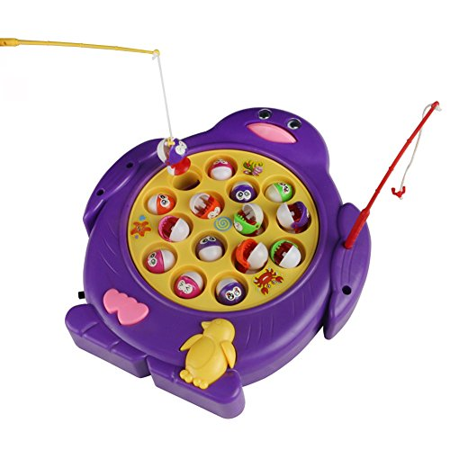 Jerryvon Fishing Game Electronic Fishing Toy Penguin Shaped Play Set with Musical Rotating Board Educational Learning Pretend Toy for Kids Boys Girls 3 4 5 Years Old, Color Vary, Pack of 1