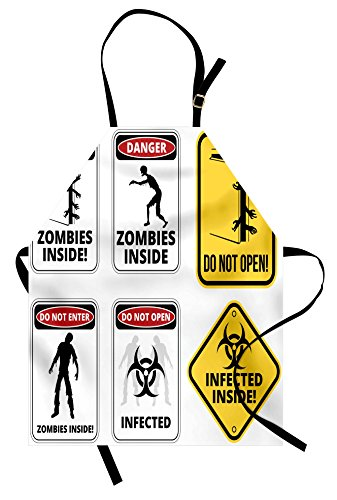 Ambesonne Zombie Apron, Warning Signs for Evil Creatures Paranormal Construction Design Do Not Open Artwork, Unisex Kitchen Bib Apron with Adjustable Neck for Cooking Baking Gardening, Multicolor by Ambesonne