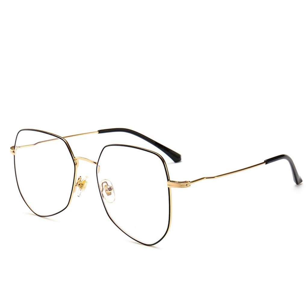 Black gold Flat Mirror, OverTheCounter Glasses, No Decorative Glasses, Irregular Metal Glasses Frames (color   Black)
