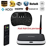 Easytone CS918 2GB/16GB/1080P Streaming Media Player Android 4.4 Smart TV Box Quad Core Speed RK3188T with Hdmi Full HD Kodi(XBMC) Fully Loaded + I8 Wireless Keyboard & Mouse Combo
