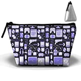Louise Morrison Blue Gaming Pattern Pen Stationery Pencil Case Cosmetic Makeup Bag Pouch