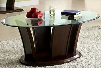 Manhattan Dark Cherry Finish Oval Glass Top Coffee Table