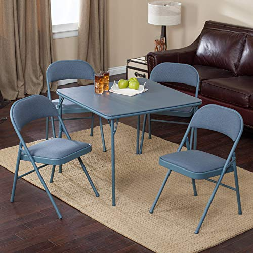 Table End Adirondack Blue (5 Piece Folding Set, Square Table and 4 Double Padded Chairs, Solid Steel Construction, Vinyl Padded, Practical, Ideal for Small Space, Home Furniture, Blue Color + Expert Guide)