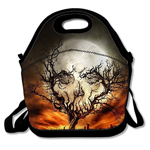 Trees Skull Moon Stars Spooky Halloween Sky Night Branch Fence Lunch Tote Soft Bag Cooler Box Lunchbox Bag Handbag Case Lunch Tote/Cooler/Lunch Box with Zip