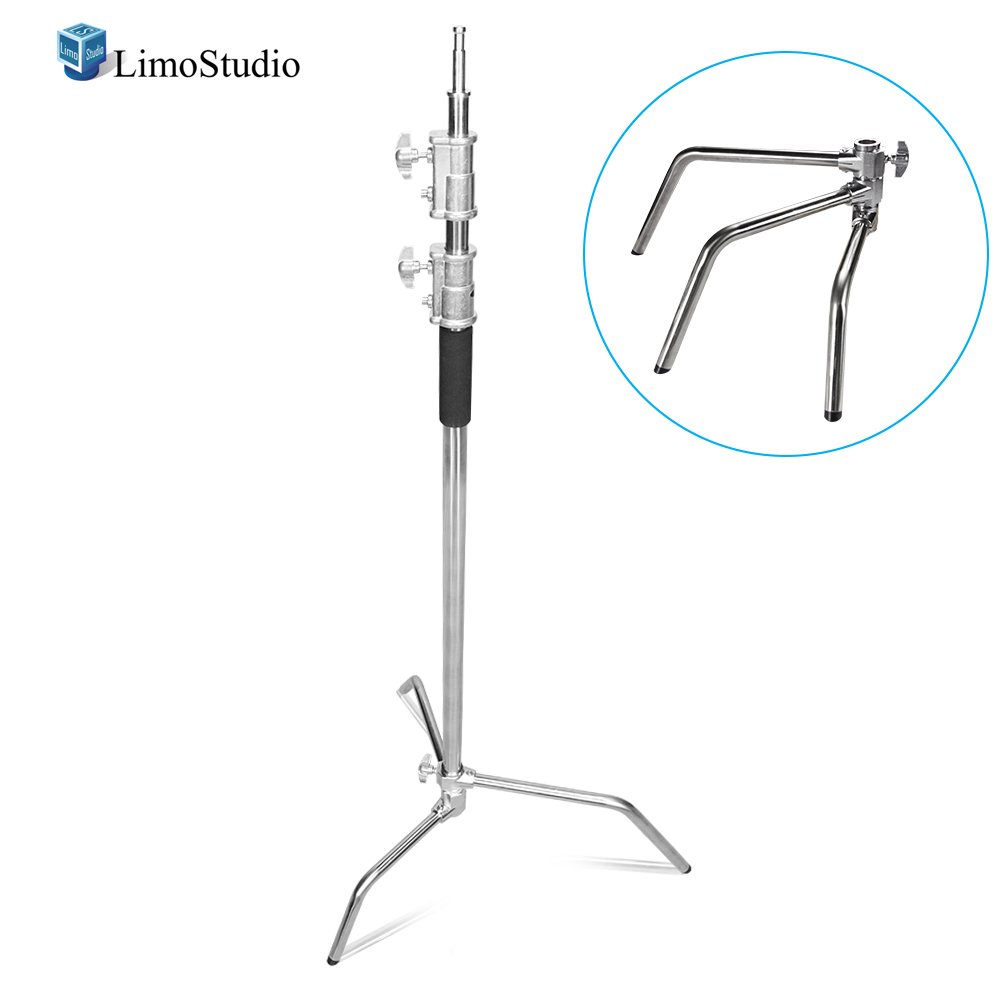 LimoStudio Heavy Duty Master C-Stand with Sliding Leg Turtle Fold Base, Light Stand Tripod, 130 Inch Max Height, 100 Percent Metal Strong Silver Chrome, Photo Studio, AGG2146