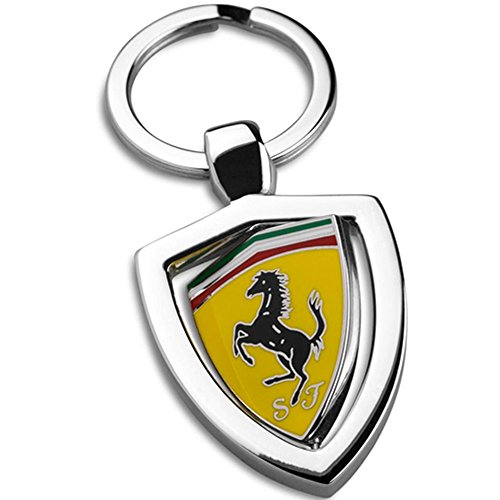 Authentic Ferrari Key Chain with Revolving Yellow Ferrari Shield Design 270000286 ()