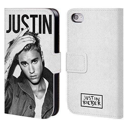 Officiel Justin Bieber Calendrier Noir Et Blanc Objectif Étui Coque De Livre En Cuir Pour Apple iPhone 4 / 4S