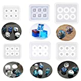 6 Pack Resin Beads Molds with Hole Silicone Resin Epoxy Molds for Cabochon Gemstone Pendant Earrings Jewelry Casting