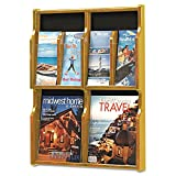 Safco Products 5704MO Expose Literature Display, 4 Magazine 8 Pamphlet, Medium Oak/Black
