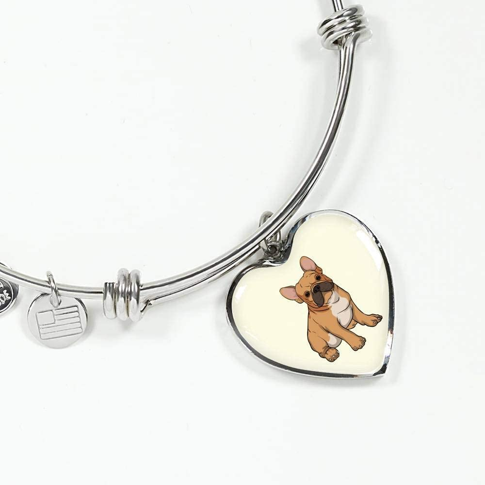 Funny Gift for Cute Dog Lovers Weezag French Bulldog Heart Pendant Necklace Bangle