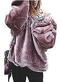 Sibylla Women's Long Sleeve Oversize Fuzzy Warm Fleece Hoodies Pullover Jacket Outwear (XX-Large, Pink)