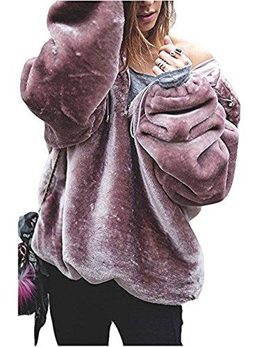 Plush Warm Jacket (Sibylla Women's Long Sleeve Oversize Fuzzy Warm Fleece Hoodies Pullover Jacket Outwear (Medium, Pink))