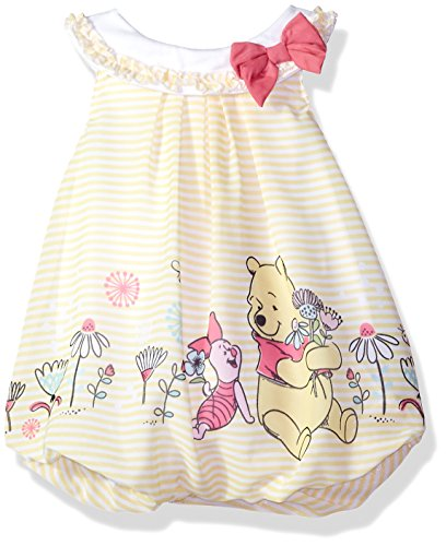 Disney Baby Girls Pooh Bubble Romper, Lemon Drop, 6-9 Months