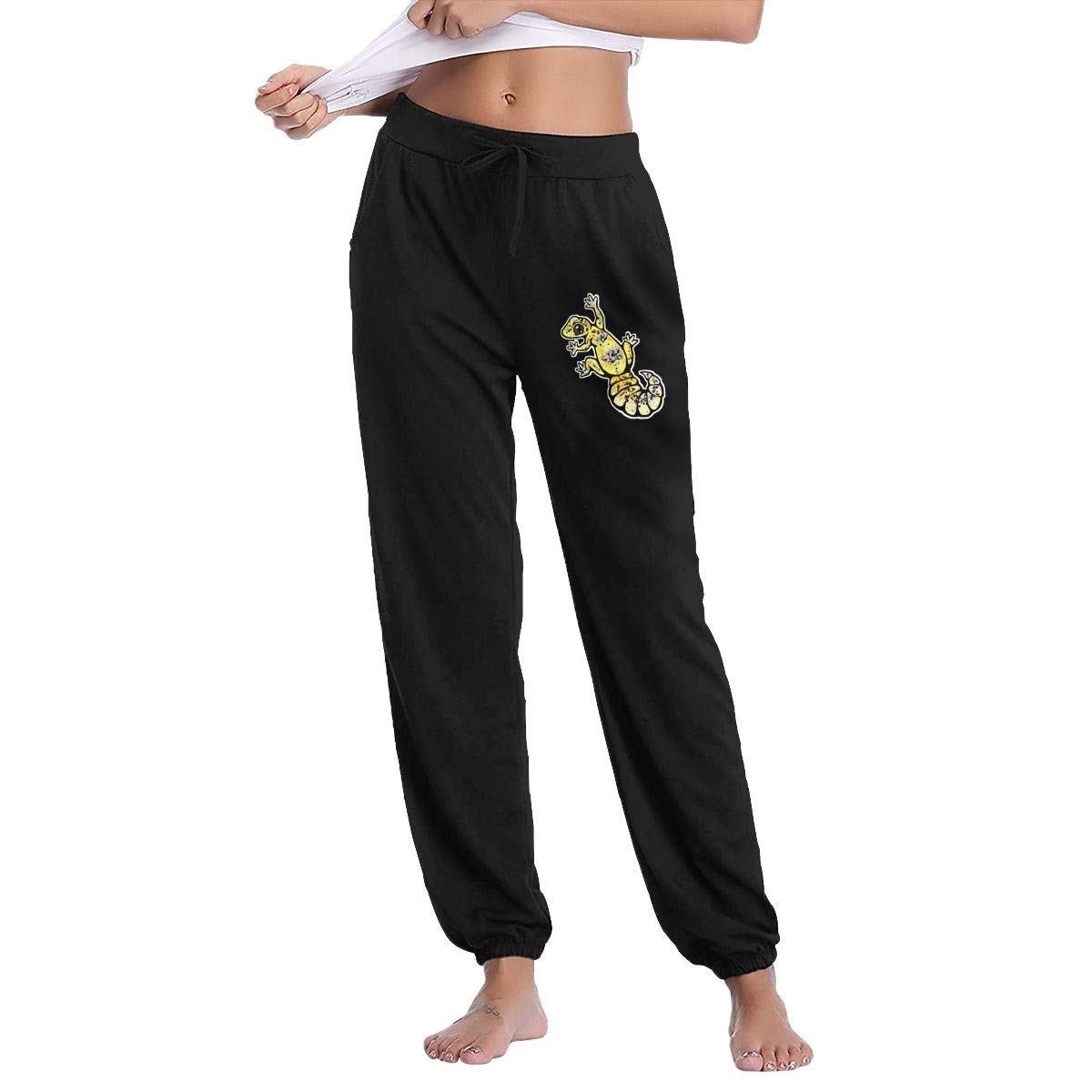 Monwe Yellow Leopard Gecko Womam Autumn Winter Long Trousers Casual Track Trousers