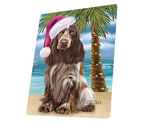 Summertime Happy Holidays Christmas Cocker Spaniel Dog on Tropical Island Beach Art Portrait Print Woven Throw Sherpa Plush Fleece Blanket D169 (54x38 (Cocker Spaniel Tapestry Throw)