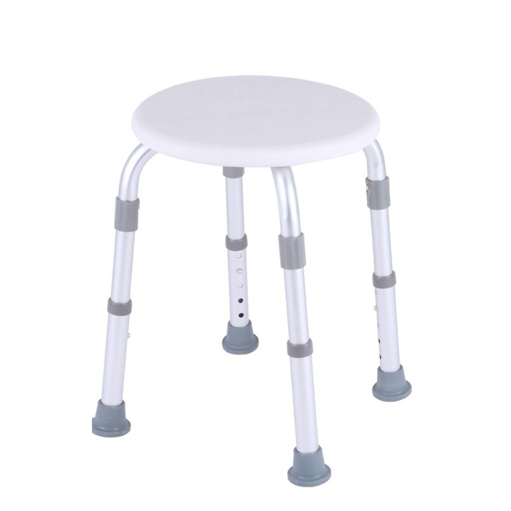 Round Bathroom Shower Stool | Adjustable Height Shower/Bath Seat Bench for Elderly Disabled or Pregnant Women | Healthcare Lightweight Aluminum Alloy Bathroom Bath Chair (White)