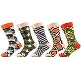 WeciBor Men's Dress Colorful Fashion Wedding Funny Skateboard Geometry Cotton Crew Socks 5 Packs