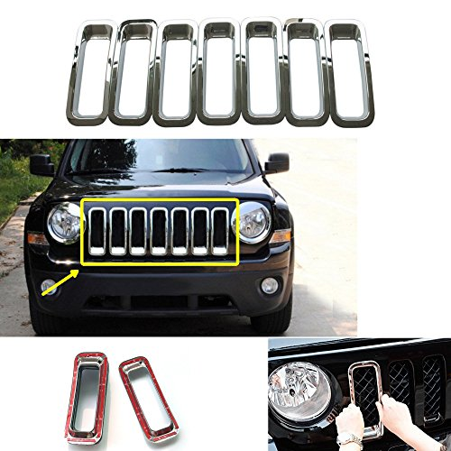 For Jeep Patriot 11-14 Chrome Silver Front Grille Trims Insert Ring Vent ABS Set