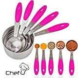 Measuring Cups and Measuring Spoons set by Chef U | Stainless Steel Measuring Cups and Spoons Set of 10 | Liquid Measuring Cup or Dry Measuring Cup Set | Stainless Measuring Cups (Pink)