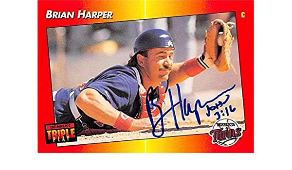 Brian Harper Autographed Baseball Card Minnesota Twins 67 1992
