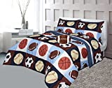 Golden Linens Full Size 8 Pieces Printed Navy Blue, Sky Blue, Brown, Orange Kids Sports Basketball Football Baseball Comforter/ Coverlet / Bed in Bag Set with Decorative Cushion Toy Pillow # 02- 8 Pcs