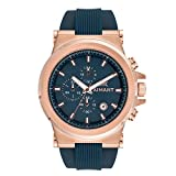 AIMANT Men's Monaco Rose Gold with Blue Silicone Strap Watch GMO-180SI2-2RGB