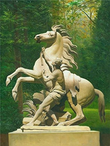 The High Quality Polyster Canvas Of Oil Painting 'Sculpture Of A Man And A Horse' ,size: 24x32 Inch / 61x81 Cm ,this High Definition Art Decorative Prints On Canvas Is Fit For Laundry Room Artwork And Home Decor And Gifts