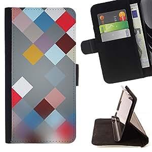 For Samsung Galaxy S6 EDGE (NOT S6) Case , Plaid modelo abstracto de Blur- la tarjeta de Crédito Slots PU Funda de cuero Monedero caso cubierta de piel