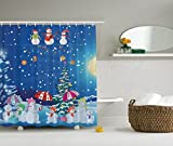 Snowman Shower Curtain Christmas Snowman Winter Snowkids Snowing Moonlight Snowflakes Digital Print Polyester Fabric Shower Curtain Blue Yellow White Fuchsia Pink Green- Machine Washable 69Wx70L