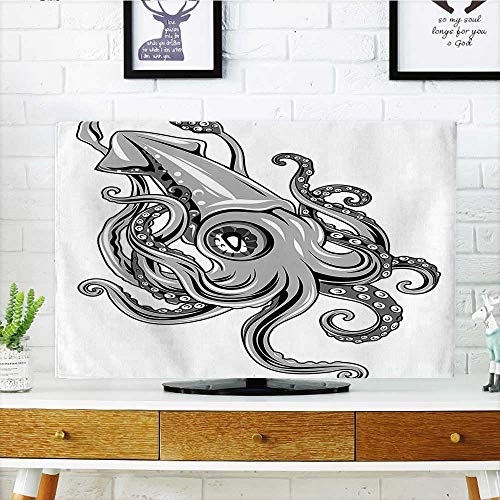 Auraisehome Cover for Wall Mount tv Squid Fish with Fins Sea Spiritual Animal Cuttlefish Underwater Alien Artisan Print Grey Cover Mount tv W36 x H60 INCH/TV 65