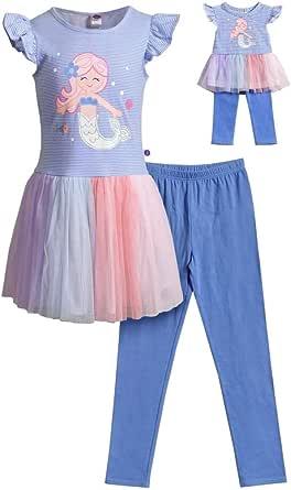 Dollie & Me Girls Size 4-12 Purple Glitter Mermaid Tunic Legging Set