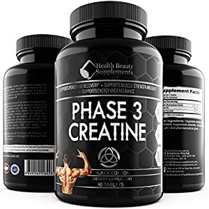 * ANABOLIC CREATINE MONOHYDRATE BLACK EDITION *Best Lab Tested Creatine Pills Phase 3 Creatine Monohydrate Powder HCI & Pyruvate Extreme Bodybuilding Pills Capsules By Muscle Phase