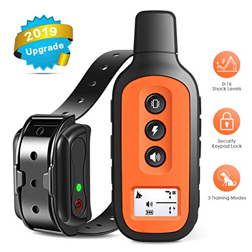 Dog Training Collar, 2019 Upgrade Rechargeable Dog Shock Collar with 3 Training Modes,100% Waterproof Training Collar, Up to 1600 Ft Remote Range, 0-16 Shock Levels Dog Training Set