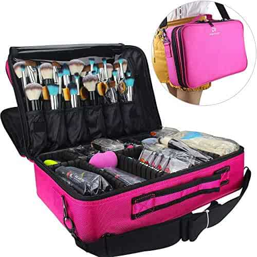 Relavel Makeup Bags Travel Large Makeup Case 16.5 inches Professional Makeup Train Case 2 Layer Cosmetic Bag Makeup Artist Organizer Brush Holder Storage with Shoulder Strap and Dividers (Hot Pink)