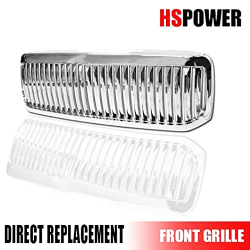 HS Power Chrome Vertical Front Hood Bumper Grill Grille Cover for 1999-2004 Ford F250 / F350 / F450 / F550 Excursion Superduty ()
