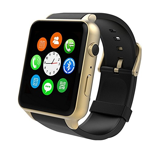Smart Watch- Yarrashop Uwatch Smart Watch with Heart Rate Monitor Android Smart Watch Phone Sports Bluetooth Wristwatch With 3G magsensor gravity sensor Compatible With IOS & Android (Gold)