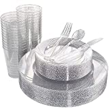 WDF 150pcs Silver Plastic Plates with Disposable Plastic Silverware&Silver Cups- Silver Glitter Design include 25 Dinner Plates,25 Salad Plates,25 Forks, 25 Knives, 25 Spoons& 10oz Plastic Cups