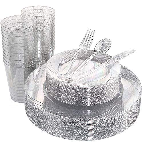 WDF 150pcs Silver Plastic Plates with Disposable Plastic Silverware&Silver Cups- Silver Glitter Design include 25 Dinner Plates,25 Salad Plates,25 Forks, 25 Knives, 25 Spoons& 10oz Plastic Cups]()