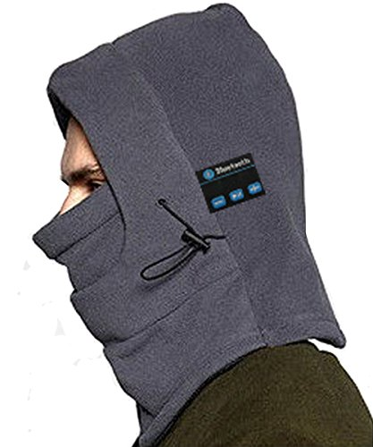 Deron Outdoor Ski Full Face Mask Windproof Mask with Bluetooth Neck Warmer Mask Hat Wireless Hi-Fi Stereo Headphone (grey)