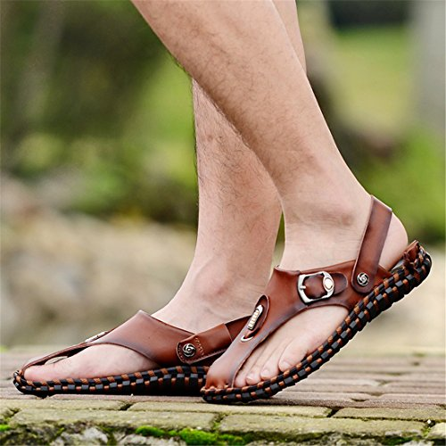 Mens Outdoor Fisherman Leather Beach Athletics Walking Hiking Sandals 1677 Brown 0fQnfhpR