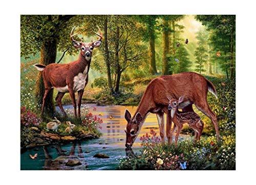 Ris Stock Full - DIY Diamond Embroidery Animal Deer Cross Stitch Diamond Painting Scenery Pattern Full Round Rhinestone Home Decor,Purple,25X30CM