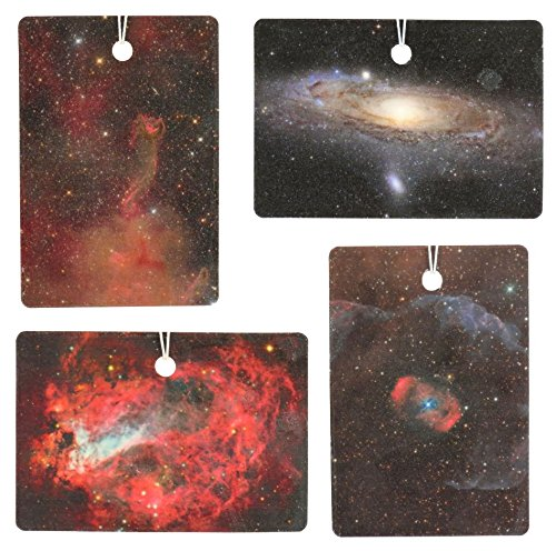 Set of Four Galaxy Print Air Fresheners, Cedarwood Essential Oil ()