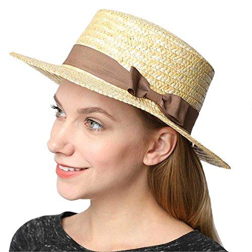 - Ivan Johns Summer Hats for Women Flat Top Straw Beach Hat Panama Hat Summer for Women Straw Hat Snapback Coffee hu Die jie
