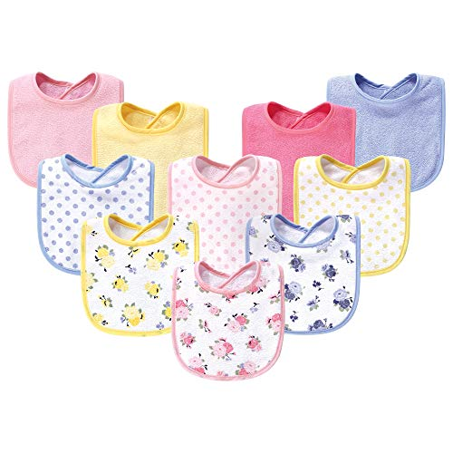 (Luvable Friends Baby Cotton Drooler Bib, 10 Pack, Floral, One Size)