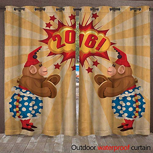 RenteriaDecor Outdoor Ultraviolet Protective Curtains Vintage Wind up Toy Monkey with Timpani and red hubcap W72 x L108 (Hubcap Wire)