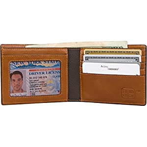 Genuine Leather Wallet Mens Slim Bifold RFID Blocking
